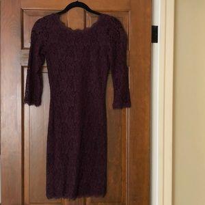 Lacy burgundy 3/4 length sleeve mini dress